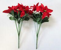 Set of 2 Velvet Red/White Poinsettia & Rosebud Bushes - 30cm - Winter/Christmas