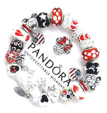 PANDORA Bracelet Silver Disney Mickey Minnie USA Flag Red European Charms New