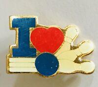 I Love Ten Pin Bowling Novelty Pin Badge Rare Vintage (H7)