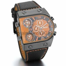Cool Fashion Men's Three Time Zone Leather Wrist Watch Outdoor Sports Bracelet