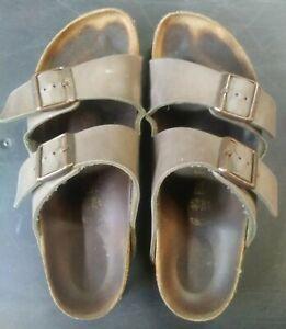 BIRKENSTOCK Germany Women 9 Men 7 Arizona 40 Two Straps Gray Sandal cork Leather