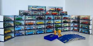 Lot 45 voitures/véhicules Tintin Edition Atlas 1/43 +3 figurines+jeu de cartes