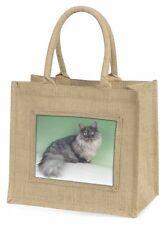 Silver Grey 'Blue' Munchkin Cat Large Natural Jute Shopping Bag Chris, AC-103BLN