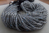 "13"" AAA LABRADORITE faceted gem stone rondelle beads 3.5mm - 4mm blue calibrated"