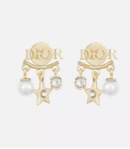 Authentic Dio(r)evolution Gold-Finish Metal, White Resin Crystal Earrings Rare!