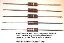 10-Ohm 1-Watt Allen Bradley Carbon Comp Resistors 5/PK