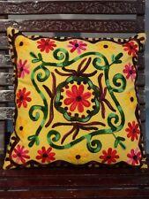 Indian Embroidered Suzani Cushion Cover 16X16 Decorative Pillow Shams Boho Throw