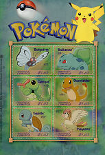 Dominica 2001 MNH Pokemon Butterfree Bulbasaur Charmander Squirtle 6v M/S Stamps