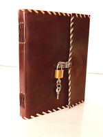HANDMADE LOCK DIARY LEATHER JOURNAL BOUND BOOK CHRISTMAS SKETCH NOTEBOOK 9 X 7