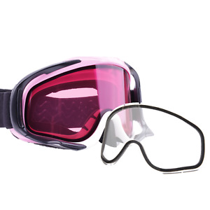 Snowcross Anti-Fog Goggles Adult Rose Lens Clear PINK Hard Case