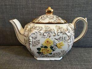 Sadler Yellow Tea Rose pattern Cube teapot with gilt highlighting