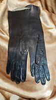 Vintage 1960s Real Kid Leather Black Womens Evening Driving Gloves Sz 6 1/2