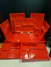 New listing Arrow Plastics 5 Section Divided Food Trays, Set 10 Bright Red 11.5X8.5 Picnic