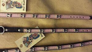 Pet Crock styled leather collar in pink w/metal bones embellishment