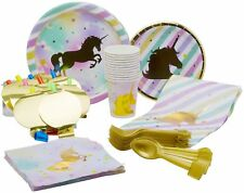 10 Guest - Gold Unicorn Themed Birthday Party Plates, Cups, Napkins & More!