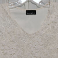 Women's Top Shell Tank Lace BRITTANY BLACK Crochet Ivory White S
