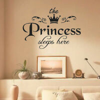 Removable Princess Sleeps Wall Stickers Art PVC Decals Baby Girls Room Decor WU