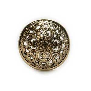 5pcs Brownish gold Round Metal Buttons Hollow Carved Sewing Jacket Suits Sweater