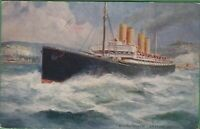 Vintage Antique UK London Postcard SS Deutschland passenger liner Ship Dover