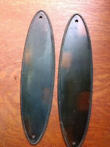 Two Antique Oval Bronze Passage Doorplates Push Plates c1885 Russell & Erwin