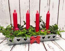 Christmas table advent candle metal tray holder Scandi Danish Jul vintage hearts