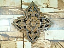 Thai Vintage Carved Wood Wall Decor Square Panel Flower Wall Art Brown 6""