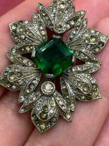 Antique Citrine Emerald & Diamond 6.30 Ct Brooch Pin with 10k White Gold Over