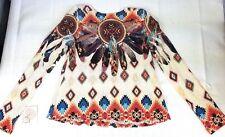 NWT GAZE USA Woman's Knit Top X- Small Stretch Southwest Print XS Long Sleeves