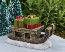 Miniature Dollhouse FAIRY GARDEN ~ Mini CHRISTMAS Glitter Snow Sled w Presents