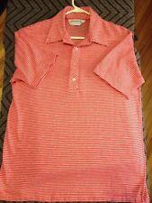 Vtg 70s Brentwood Rat Pack Polo Golf Tennis Red White Striped Lg Shirt FREE SHIP