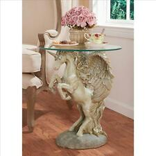 Mystical Winged Unicorn Sculptural Glass-Topped Design Toscano Exclusive Table