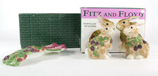 Fitz & Floyd Blackberry Rabbit Bunny Salt & Pepper S&P Spoon Rest in Box Easter