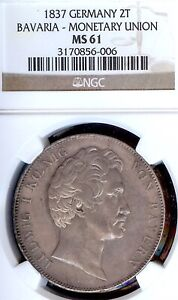 German States Bavaria 1837 2 Talers Coin Thaler NGC MS 61 VZ/F.STG UNC UNION