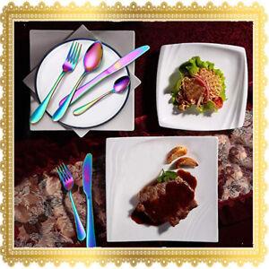 4/8/16/32/64 PCs Stainless Steel Cutlery Dinner Tea Set Rainbow Knife Fork Spoon
