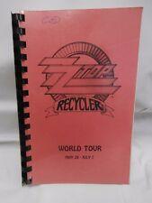 RARE ZZ TOP 1991 Recycler European Tour Itinerary Book