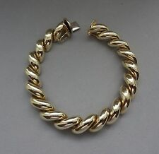 GORGEOUS ITALY POLISHED 14K YELLOW GOLD SAN MARCO CHAIN LINK BRACELET - 23 GR