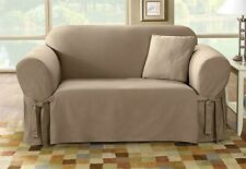 Sure Fit Cotton Duck Sofa Slipcover in Linen for Box Style Seat Cushion 1 Piece