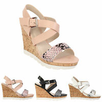 NEW WOMENS LADIES HIGH WEDGE HEELS SUMMER STRAPPY ROSE PINK BEACH SANDALS SIZE