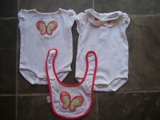 Baby Girl's Gymboree Bodysuit/Romper x 2 & Bib Set Size 000 VGUC