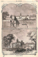 Chelsea Hospital.1879.Chelsea.Old and New London.Antique print.Thames.Art