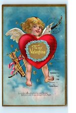 *1909 To My Valentine Cupid Wings Bow and Arrow Heart Old Vintage Postcard C09