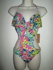 Cremieux FANTASTICAL FLORAL MONOKINI Swimsuit M NEW $98 Medium RUFFLE TOP 1pc
