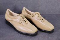 C1365 Goldkrone Damen Schuhe Schnürschuhe Leder beige Gr. 38 5K Wechselfußbett