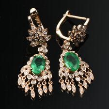 1.42TCW Natural Emerald Diamond Dangle Lever Back Stud Earrings G14K Yellow Gold