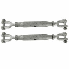 2x Rigging Screw 22mm Galvanised Jaw to Jaw 2 Turnbuckle Straining