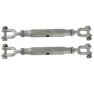 2x Rigging Screw 22mm Galvanised Jaw to Jaw 2 Turnbuckle Straining