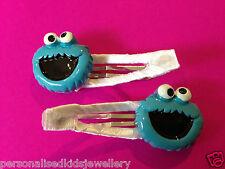 Girls Hair Clip Cookie Monster (2x snap hairclip) Sesame Street Character Elmo