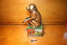 Nice Original German Tin Litho Monkey with Tray Mechanical Bank Toy c. 1908