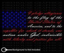 Red White Blue American flag pledge of allegiance vinyl sticker decal