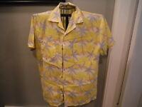 Mens LARGE Tropicana Yellow w Gray Palm Trees Tropical Hawaiian Shirt